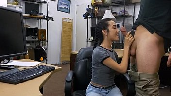 Braided Hair Brunette Teen Blowjob In Da Pawn Shop Office