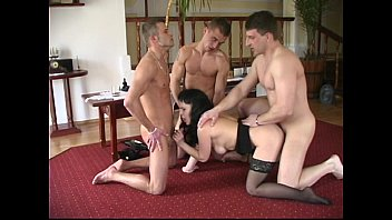Old and young foursome for chubby mature MILF with three young fat cocks