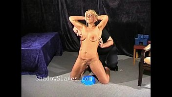 Bizarre rough sextoy domination of blonde Crystel Lei in medical fetish and puss