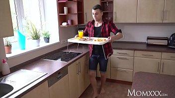 MOM Big tits British MILF in fishnet stockings gets creampie surprise