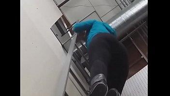 Girl In Tight Leggings Climbs Down Ladder