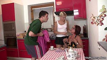 His mom teaching blonde teen toying