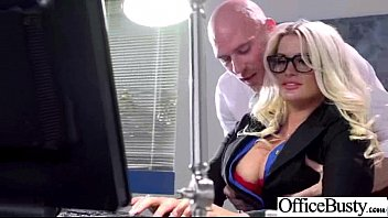 bang-out gauze in office with yam-sized-boobed splendid lady.