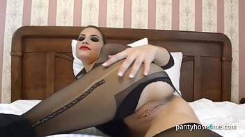 Pretty Babe in Pantyhose Is Masturbating