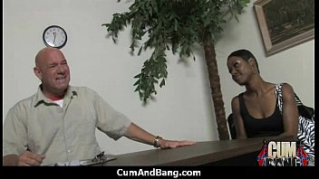 Black chick deepthroats a group of white studs and gets rewarded with cum 3