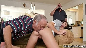Young brunette licks old Riding the Old Wood!
