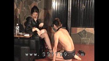 Japanese femdom K of kimono slapping the face of slave