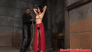 Smalltitted asian tied up by black maledom