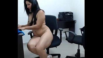 Great Ass Latina Masturbates on a Chair @ Office