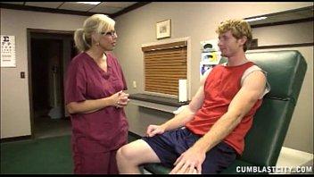 silver-blonde nurse has a jizz douche