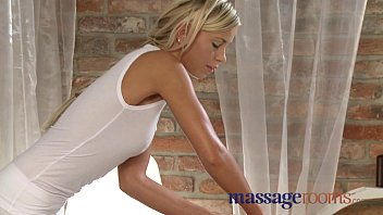 Massage Rooms Blonde teen massages client'_s cock with her tight pussy