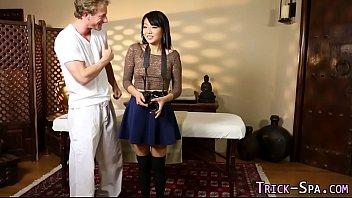 Asian teen rides masseur