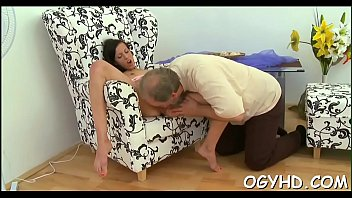 cute-looking youthful gal penetrated by older.