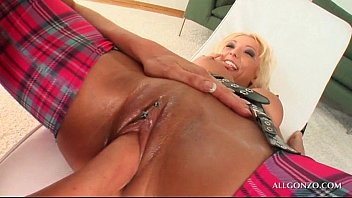 Kinky blonde lesbo taking GFs fist in pussy and her fist in ass